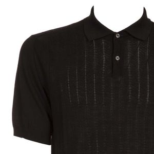 Cotton polo shirt with mini weft