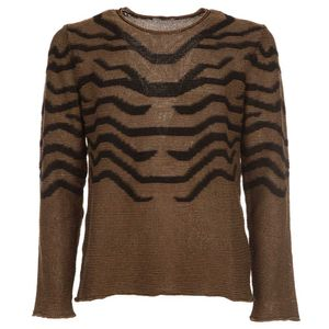 Animalier sweater in cotton and linen