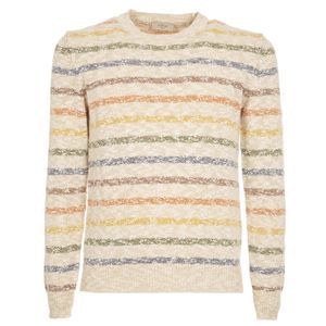 Beige striped cotton sweater