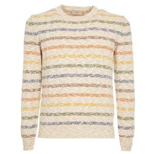 Beige striped cotton sweater