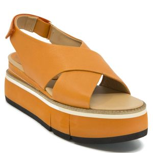 Effie sandal in tangerine-colored leather