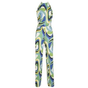 High neck jumpsuit with pattern