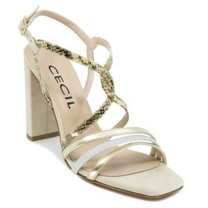 Sandal with heel and animalier upper 4158
