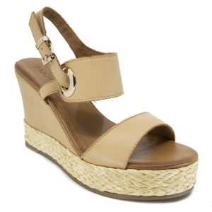 Wedge with double leather band