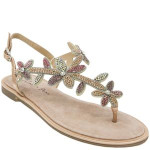 Low sandal with flower rhinestones