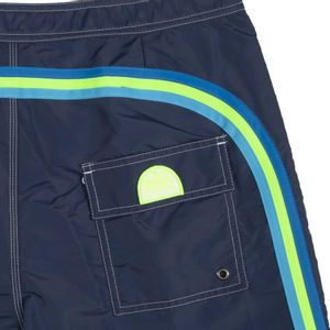 Swim trunks with details and fluo logo