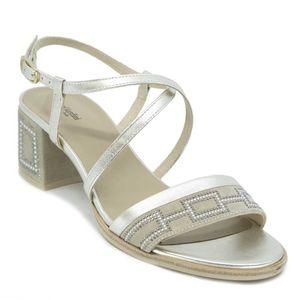 Sandalo Capra in cuoio con strass