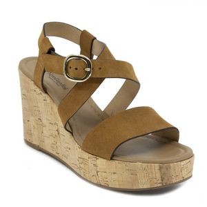 Suede sandal with cork wedge