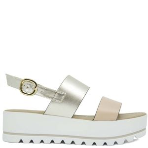 Sandal with laminated bands and platform