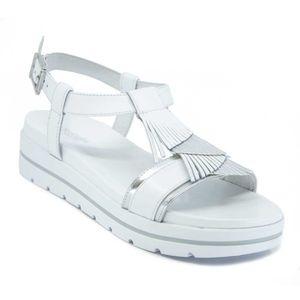 Sandal in leather and fabric with maxi fringe