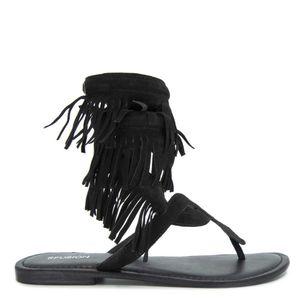 Slave sandal with fringes