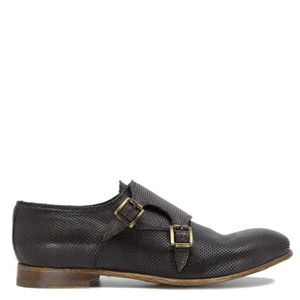 Brown leather shoes with double buckle