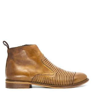 Smooth brown leather ankle boot with striped processing