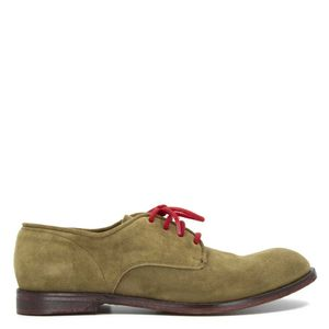 Beige suede leather shoes with red laces
