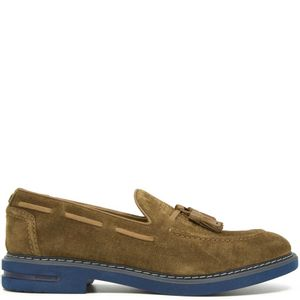Brown leather moccasin with tassels