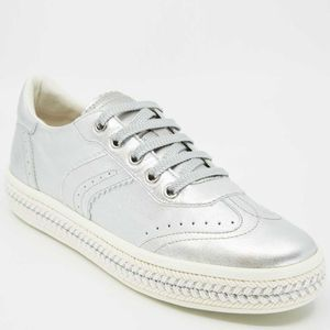 Sneakers Leel√π argentate in cuoio
