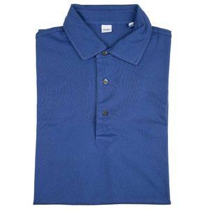 Blue three-button polo shirt