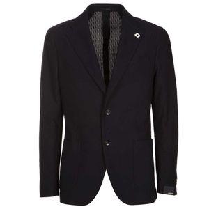 Navy blue jacket in textured cotton
