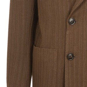 Double-breasted jacket in micro-perforated cotton
