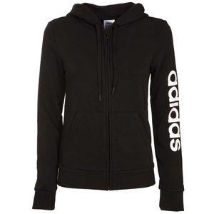 Black sweatshirt with fleece lining and logo on the sleeve