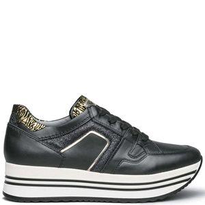 Sneakers in cuoio con glitter