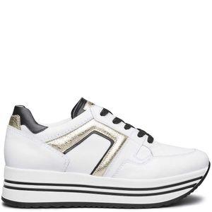 Sneakers in cuoio con inserti laminati