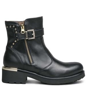 Black ankle boot with golden details