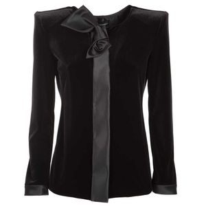 Black velvet jacket with bow