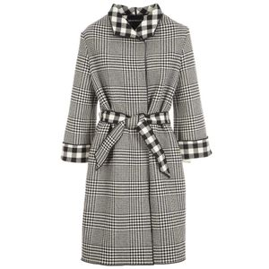 Coat in black and white check and vichy fabric