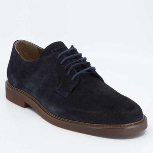 Navy blue lace-up in suede leather