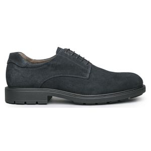 Blue suede leather lace-up