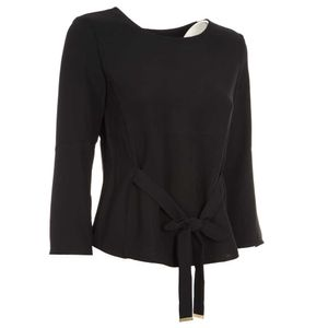 Crepe blouse with belt