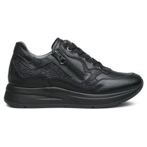 Sneakers nera con zip e glitter
