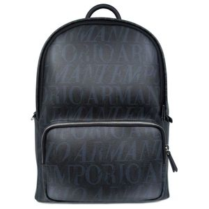 Multi-logo leather backpack