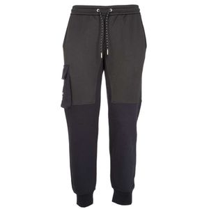 Two-tone jogger trousers with pocket