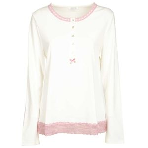 Pajama top with lace and bow