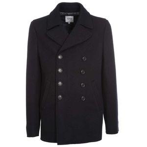Double-breasted peak wool coat