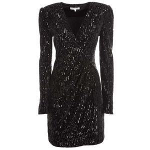 Black sequined ruffled dress