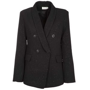 Double-breasted black blazer with glitters effect