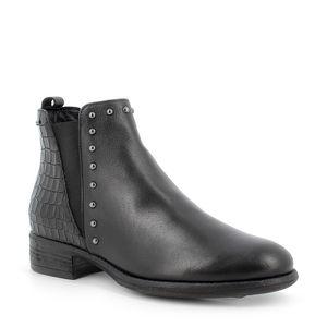 Black crocodile print ankle boot with heel