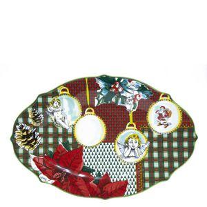 Xmas Tartan oval serving plate