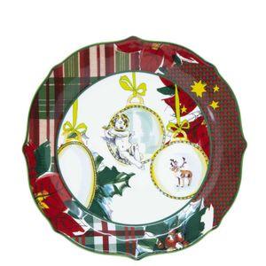 Xmas Tartan ceramic dinner plate