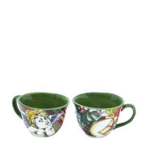 Set of two Xmas Tartan ceramic cups