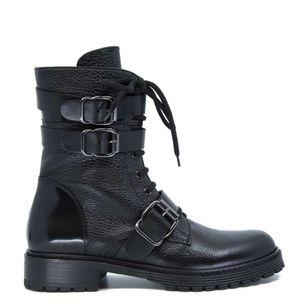 High amphibian in black leather