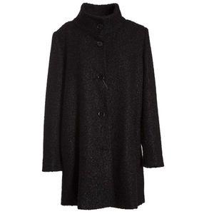 Long black bouclé coat