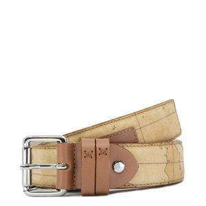 Printed leather blend belt