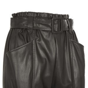 Black faux leather trousers with buckle
