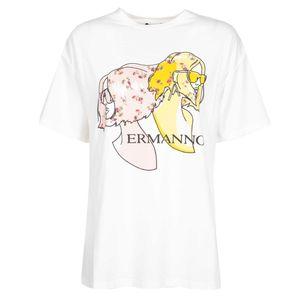 T-shirt con stampa e due spacchi laterali