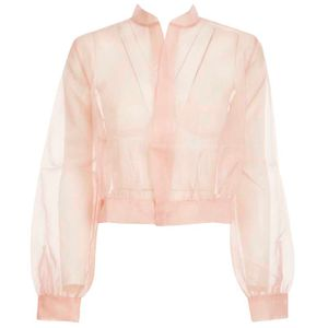 Symbol silk organza bomber jacket