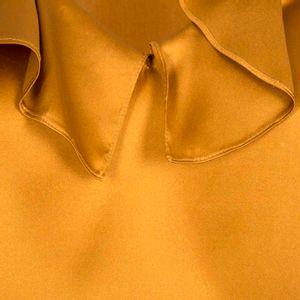 Silk satin top with ruffles